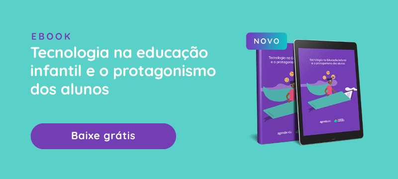 Banner com Ebook: Protagonismo e tecnologia na educação infantil. Baixe Grátis.