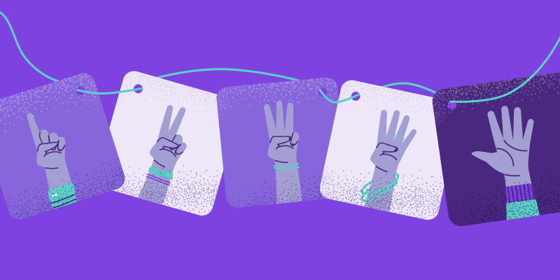 ilustração de mãos contando de 1 a 5