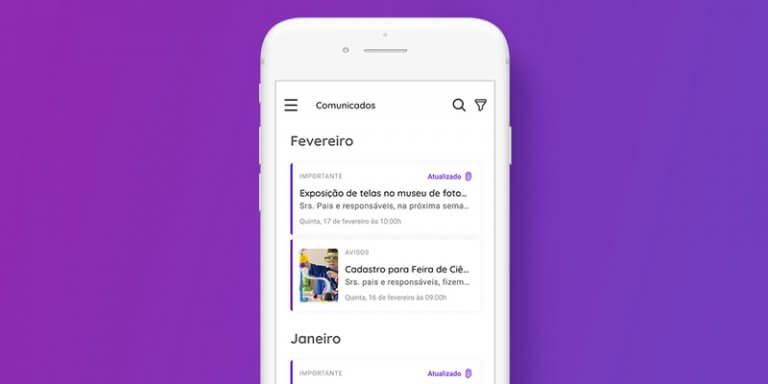 ilustração de um celular que mostra na tela a funcionalidade de Comunicados da Agenda Edu