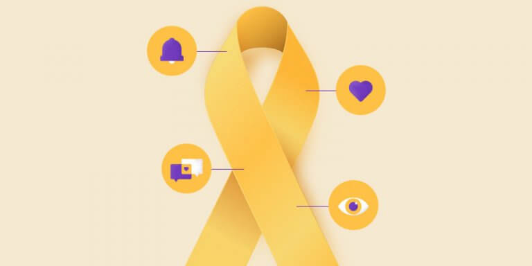 ilustração do símbolo do setembro amarelo com ícones de coração, sino, olho ao seu redor