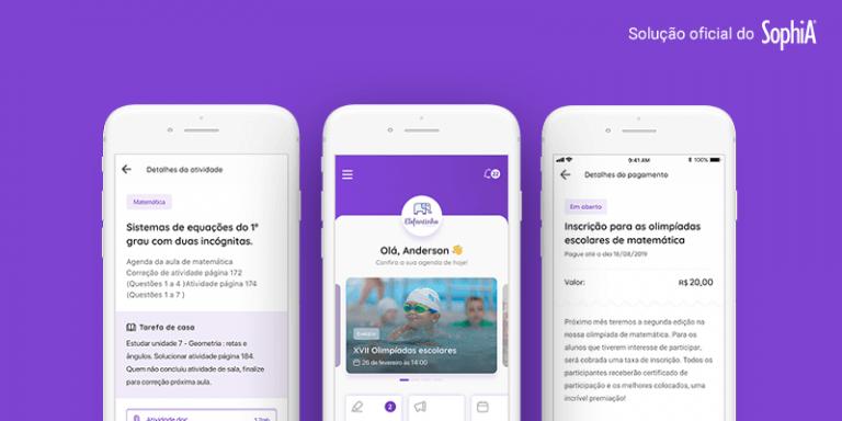 Agenda Edu e SophiA: a imagem contem um fundo roxo e três celulares com app da Agenda Edu na tela