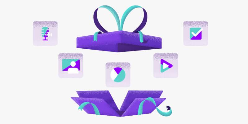 kit do professor: ilustração de uma caixa de presente roxa se abrindo com ícones