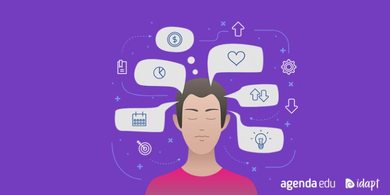 Inteligências Múltiplas: ilustração com fundo roxo, onde há de um jovem de olhos fechados e diversos ícones saindo dos seus pensamentos