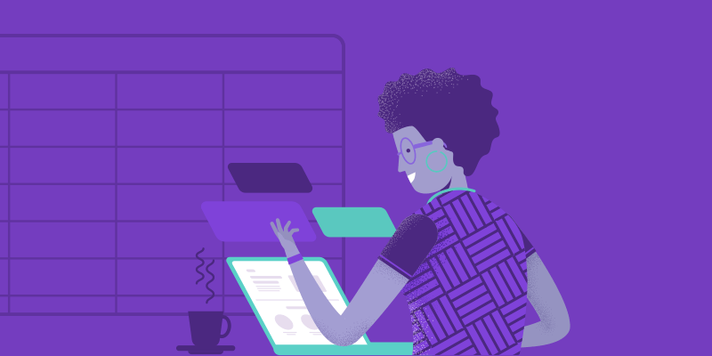 calendário escolar 2020: ilustração de uma mulher na frente do computador, com fundo predominante roxo.
