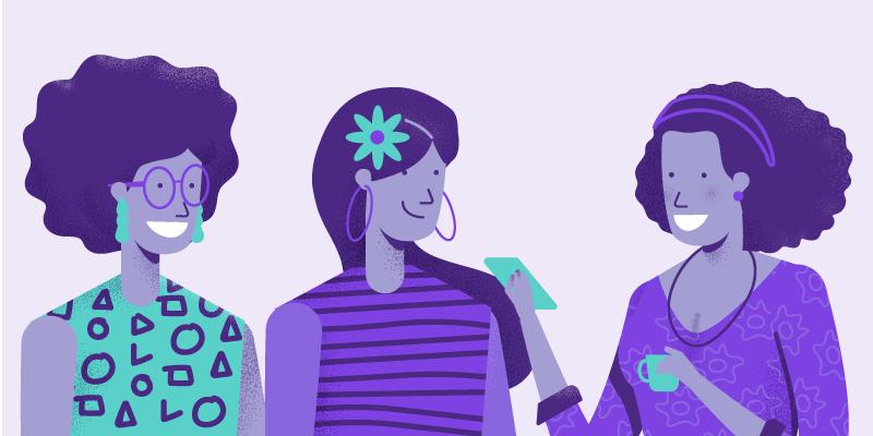 Ilustração representando três mulheres brasileiras
