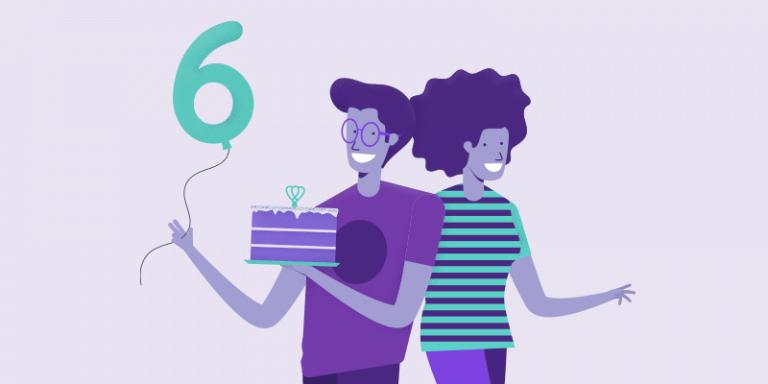 Ilustração de uma mulher e um homem segurando um bolo e um balão com o número 6 para comemorar o aniversário da Agenda Edu