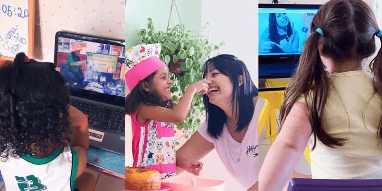 Montagem de três fotos com mães na quarentena: duas meninas estudando com notebook e uma mãe e filha cozinhando juntas