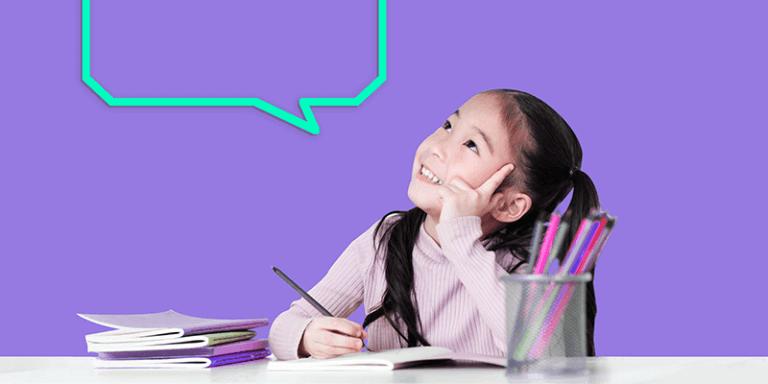 A importância da imaginação representada por uma menina estudando e olhando para um balão de pensamento ilustrado