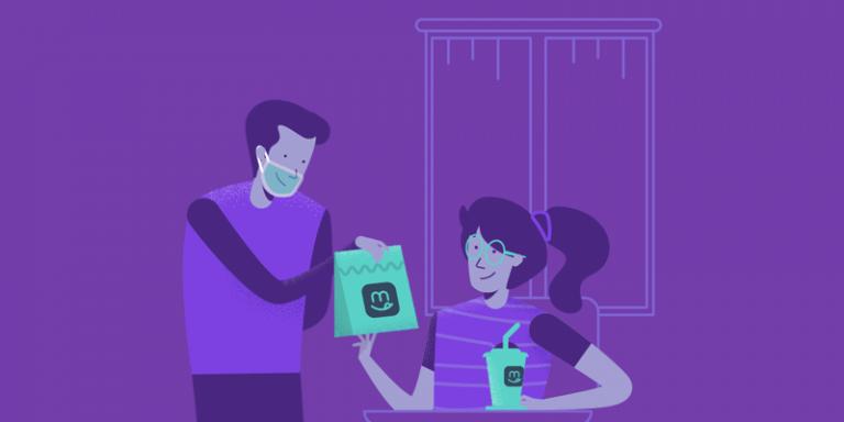 Ilustração da cantina escolar digital com colaborador de máscara entregando lanche para uma aluna