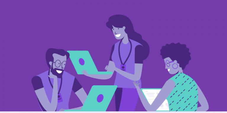 Suporte Agenda Edu: ilustração com três pessoas usando notebooks e conversando
