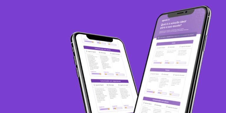 Celulares mostrando infográfico de comparação entre agenda digital x agenda de papel x whatsapp