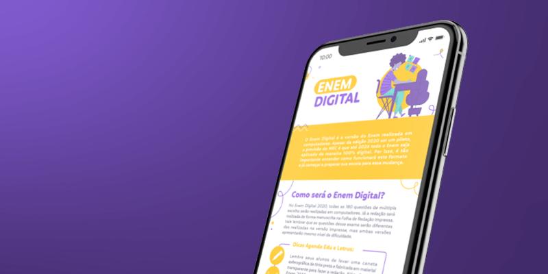 Celular mostrando o infográfico do Kit Enem Digital