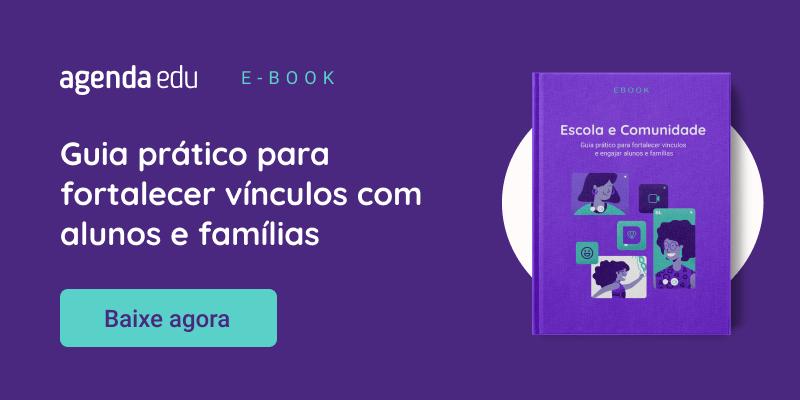Capa do Ebook Escola e Comunidade com o texto Guia prático para fortalecer vínculos com alunos e famílias, baixe agora