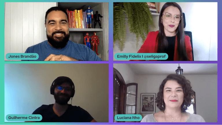 Imagem da Jornada Edu Online durante roda de conversa com Jones Brandão, Emilly Fidelix, Guilherme Cintra e Luciana Itho