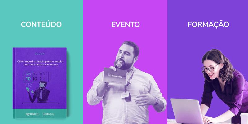 Imagem com as três tags da Jornada Edu: conteúdo, evento e formação
