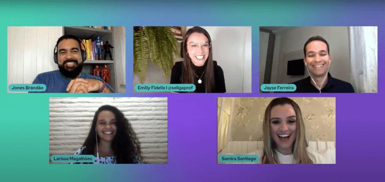 Imagem da Jornada Edu online com Jones Brandão, Emilly Fidelix, Jayse Ferreira, Larissa Magalhães e Samira Santiago