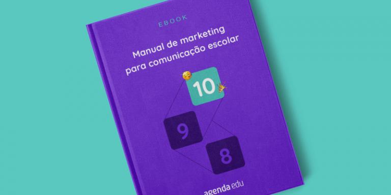 Imagem com capa do ebook Manual de Marketing para Escolas