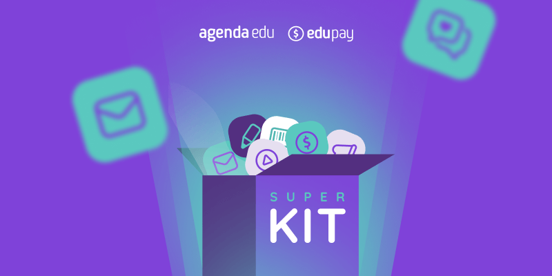 Imagem com ilustração de um kit com vários tipos de conteúdos, como uma caixa cheia de ícone representando vídeo, artigo, ebook