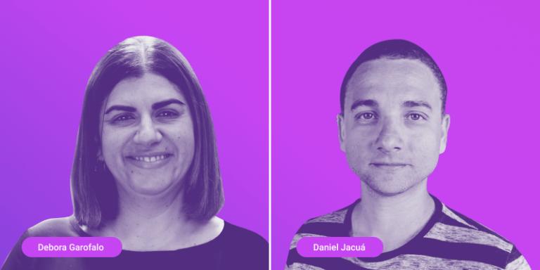 Fotos dos palestrantes Débora Garofalo e Daniel Jacuá